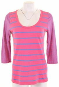 HOLLISTER-Womens-Top-3-4-Sleeve-Size-12-Medium-Pink-Striped-Cotton-JZ06