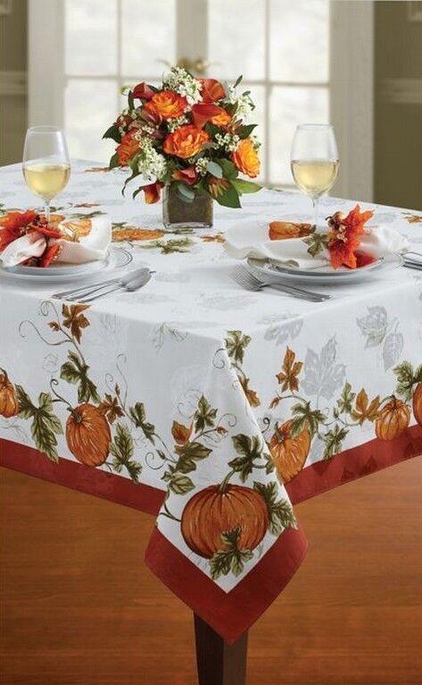 Thanksgiving Citrouilles vigne Cedar Grove Nappe Bardwil Linens Harvest 60x140