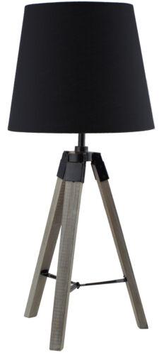 BRUBAKER 2er Set Dreibein Stehleuchten Bodenlampen 57 cm Holz Fuß Schirm Schwarz