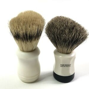 Two-Shaving-Brushes-Pure-Badger-Hair-Bristles-Made-in-England-Hair-Removal-Tools