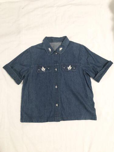 Vintage Denim Shirt Embroidered Cottagecore Wester