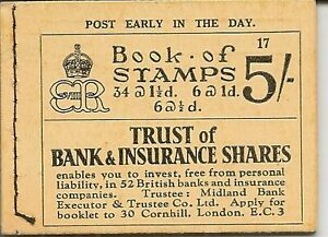 GREAT BRITAIN 1937 KEVIII 5/- BOOKLET EDITION 17 BC4 CLEAN AND FINE