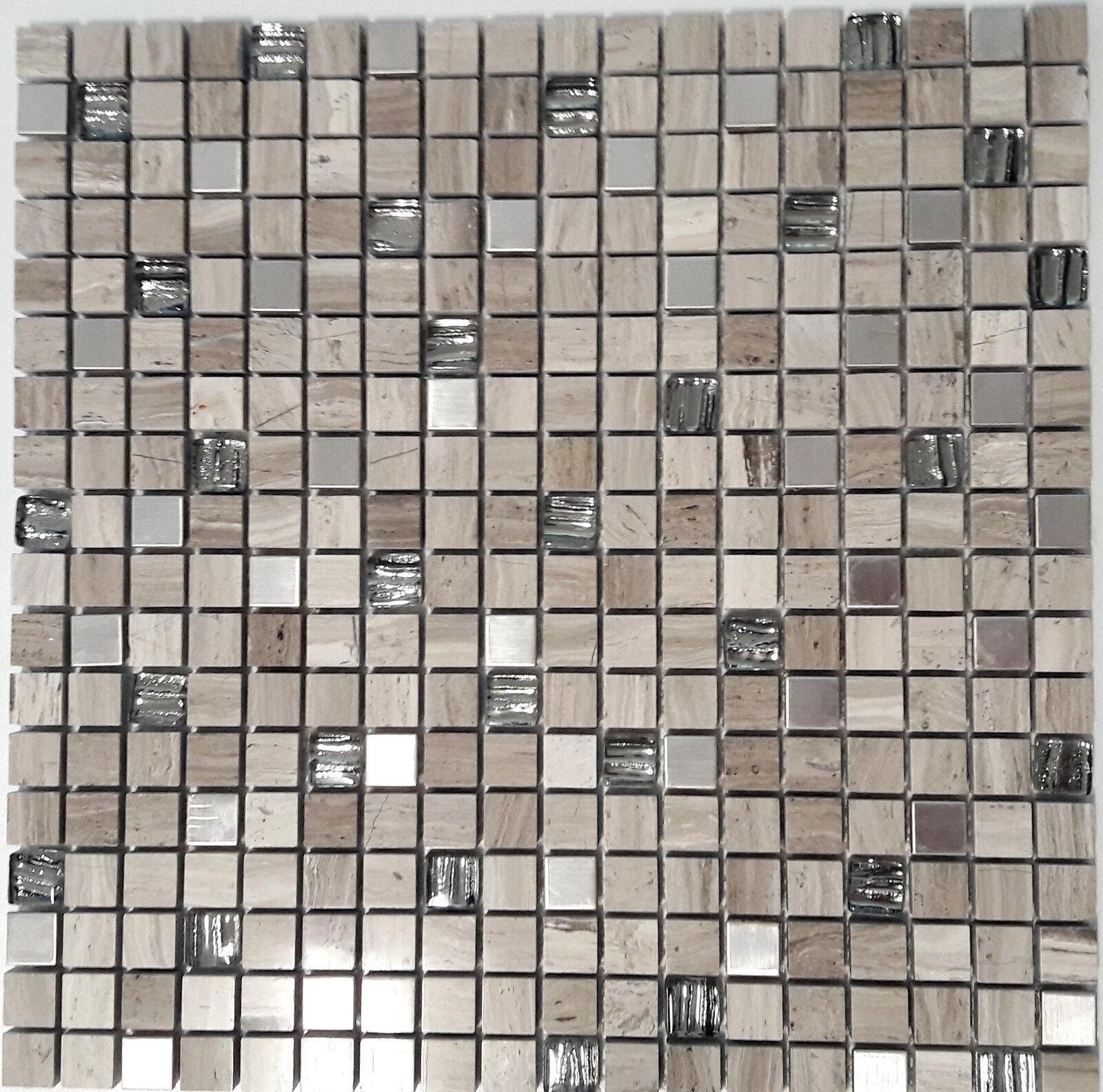 Mosaiksteine Glas-  Naturstein-  Stahlmosaik mix Holzoptik  Art  Weiß-Wood-Q_f