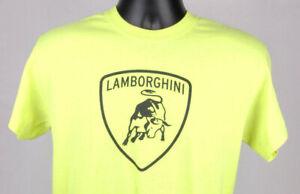 Lamborghini Shirt M Cotton Sill Terhar Neon Green Yellow Gildan Bull