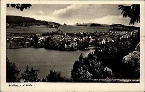 Saalburg-an-der-Saale-Thueringen-alte-DDR-s-w-Postkarte-1950-60-Gesamtansicht