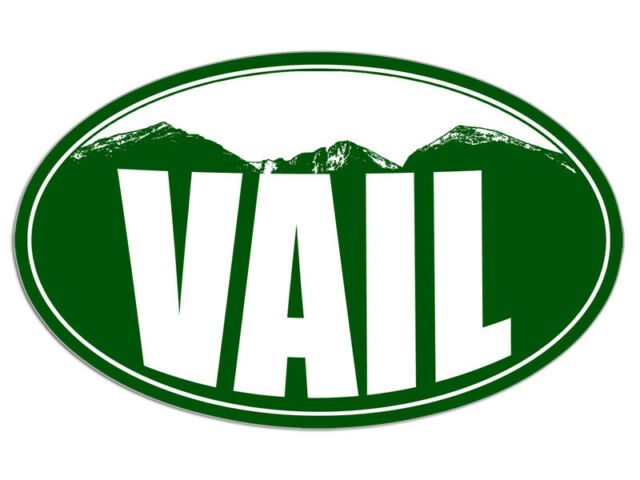 "Vail Skier Skiing Oval car window bumper sticker decal 5/"" x 3/"""