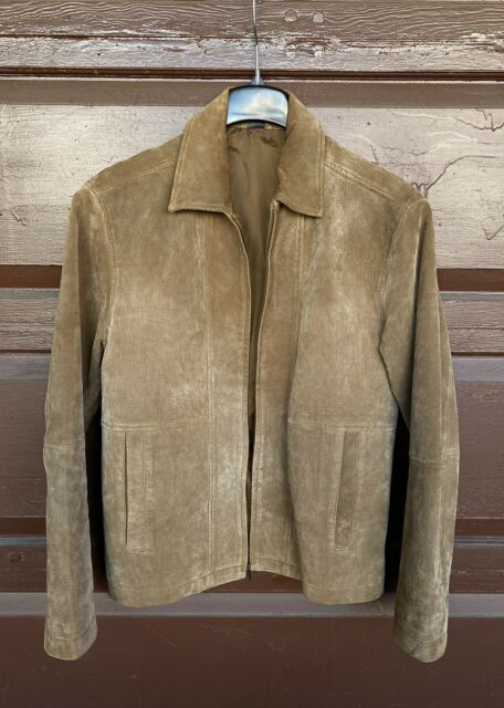 Vintage Claiborne Men's Tan Suede Classic Leather Jacket ~ Size: Small/Medium