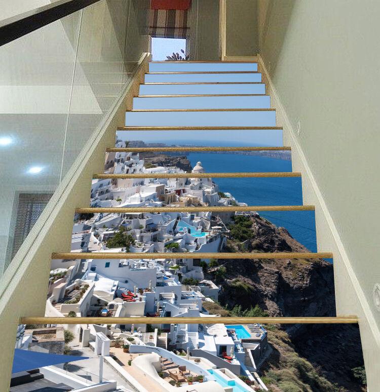 3D Strand Stadt 158 Stair Risers Dekoration Fototapete Vinyl Aufkleber Tapete DE