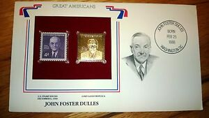 Postal-Commemorative-Society-22k-Gold-First-Day-034-JOHN-FOSTER-DULLES-034-Great-Americ