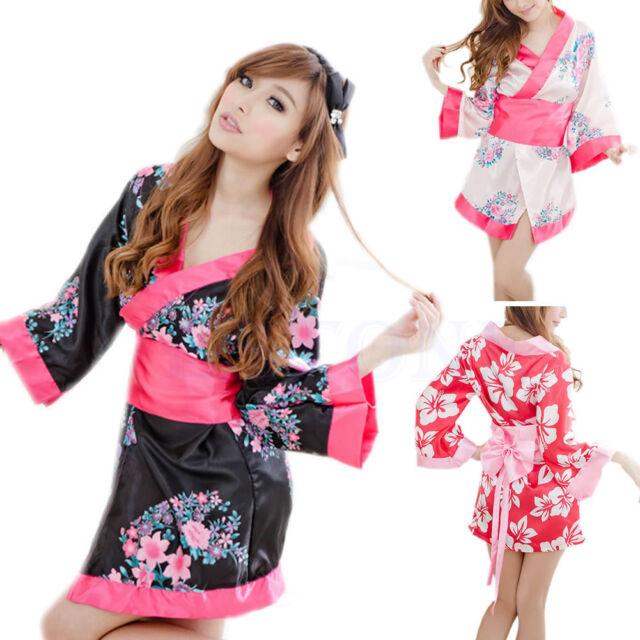 Women Satin Sexy Kimono YUKATA Bath Robe Sleepwear Lingerie Nighties Dress Gown