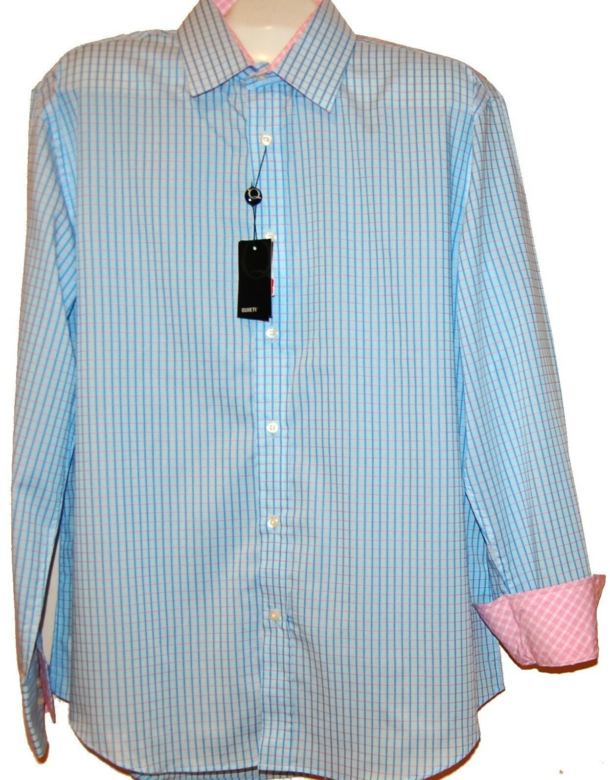 Quieti bluee  Pink Plaids  Fancywork Men  Shirt Size XL NEW