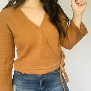 Madewell Texture & Thread Long Sleeve Wrap Tie Front Top Size Small Orange