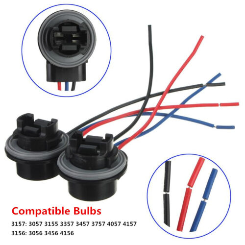 2Pcs 3157 3057 3156 3155 Bulb Socket Turn Signal Light Harness Wire Plug Adapter