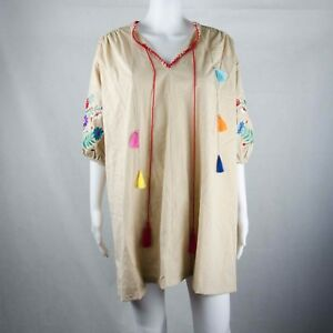 Unbranded-Ladies-Beige-Embroidery-Long-Sleeve-Top-One-Size