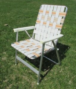Marvelous Details About Vintage High Back Folding Aluminum Webbed Lawn Chair White Tan Plastic Arms Home Remodeling Inspirations Basidirectenergyitoicom