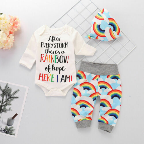 Newborn Baby Girl Boy Rainbow Romper Tops Jumpsuit Pants Hat Outfits Clothes Set