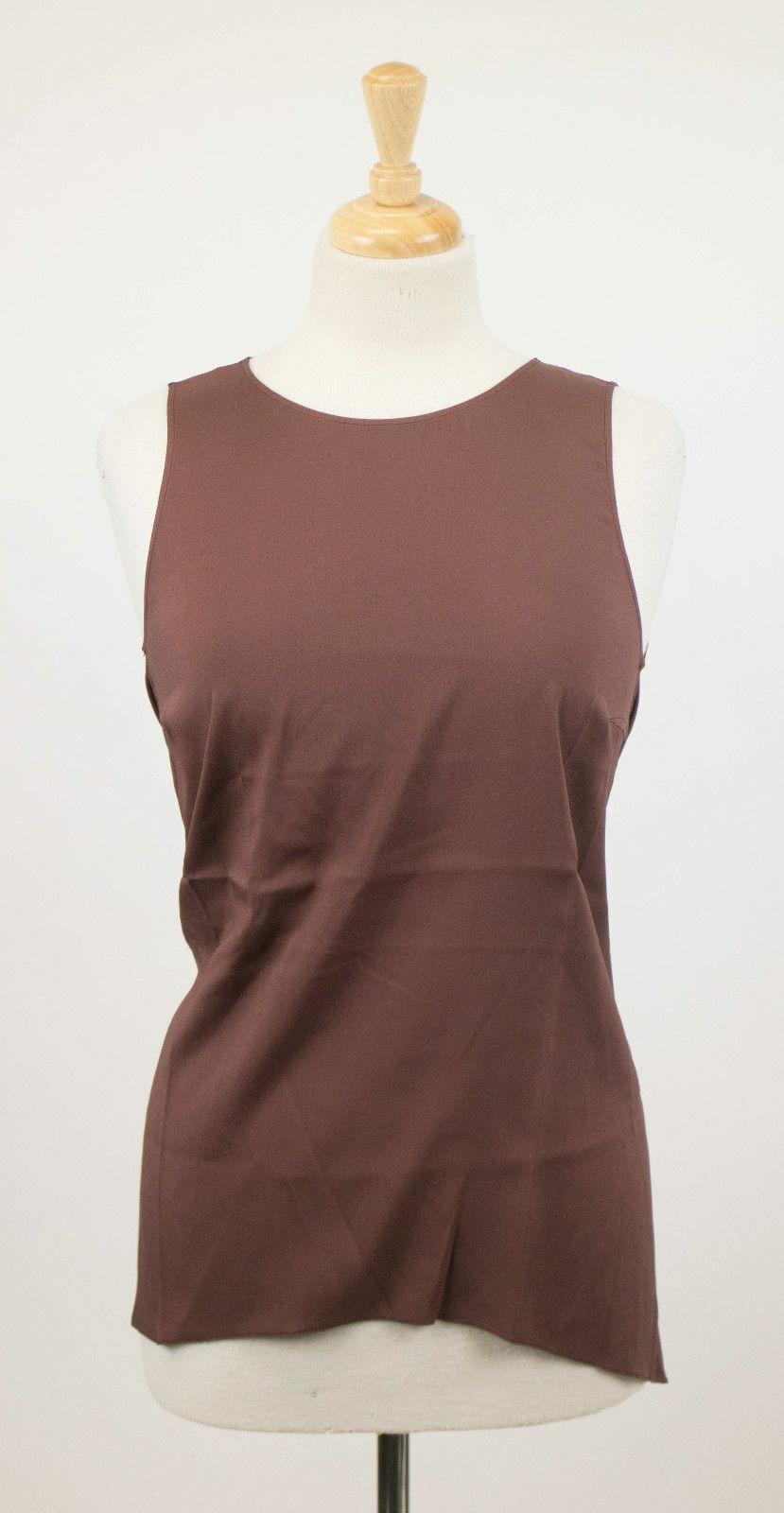 NWT BRUNELLO CUCINELLI Woman's Brown Silk Blend Blouse Shirt Top Size XL