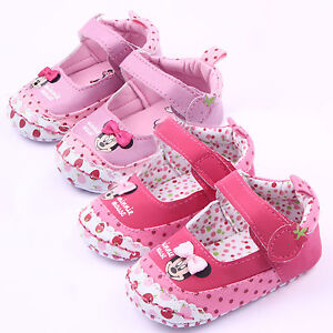 Newborn-Baby-Girls-Minnie-Soft-Sole-Crib-Pram-Shoes-Prewalker-Sneaker-Trainers