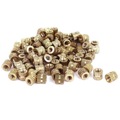 100pc Metric Threaded Brass Knurl Round Insert Nuts Gold Tone Inserts