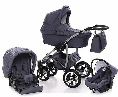 3 in 1 Pram Baby Pushchair Buggy Car Seat Travel System Stroller Swivel Wheels