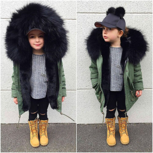 Kids Baby Girls Winter Faux Fur Coat Jacket Fashion Thick Warm Outwear Clothes