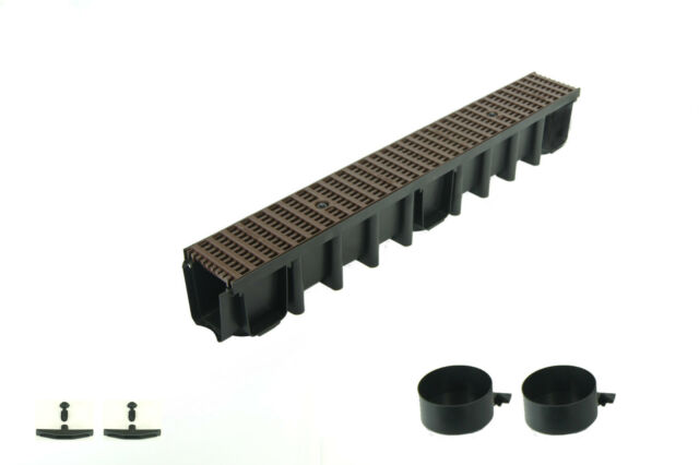 98mm Gu/ßrost komplett SET 6m Entw/ässerungsrinne Belastungsklasse C250