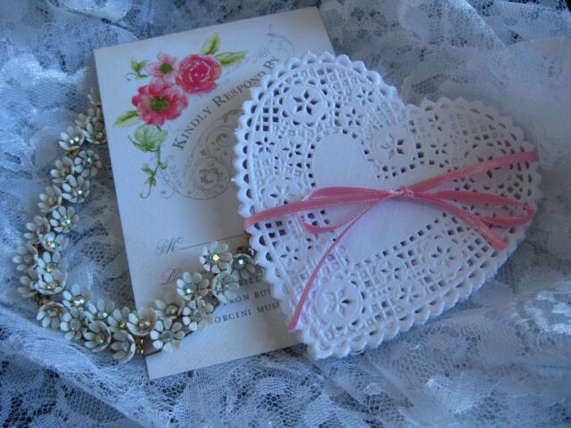 "4"" INCH LACE HEART WHITE PAPER DOILY CRAFTS 50 PCS  LOVE CARDS FREE SHIPPING"