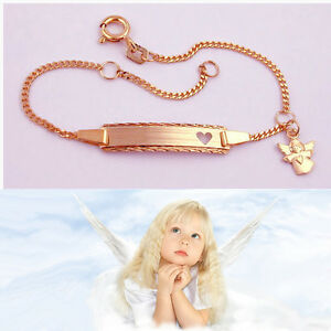 Baby Taufe Schutzengel Herz Namen Gravur Armband Echt Silber 925 rose vergoldet