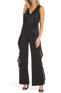 9fee2a690b93f Image is loading 200-ADRIANNA-PAPELL-Cascade-Ruffle-SATIN-Trim-Jumpsuit-