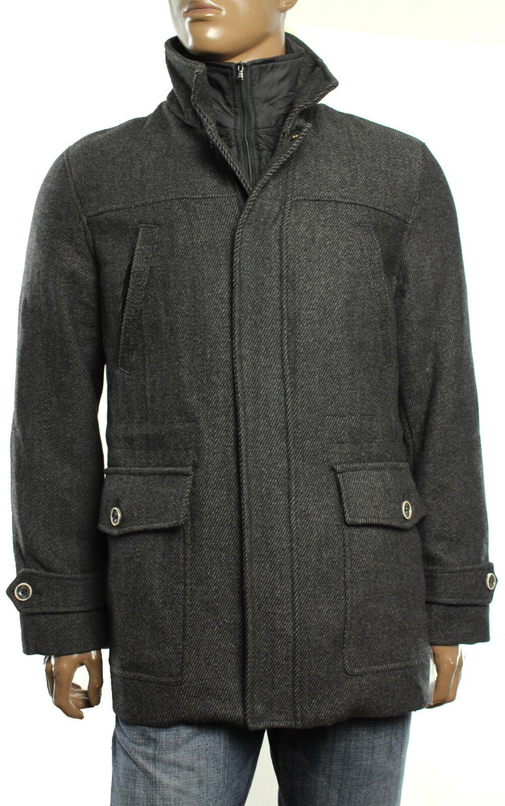 New Mens Tasso Elba Wool Blend Car Coat w  Bib Trim L