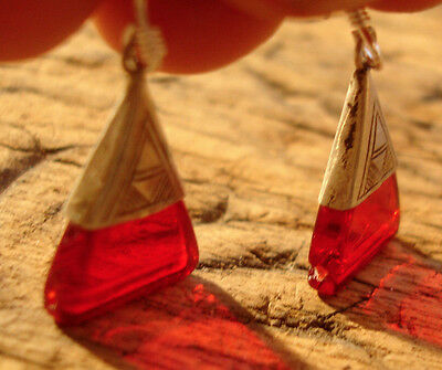 Silver Niger Tuareg red triangle drop scarab earrings with silver hooks