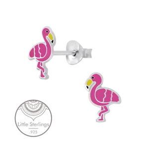 Sterling Silver Enamel Pink Flamingo Post Earrings
