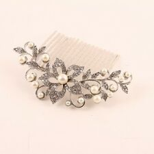 beautiful elegant wedding flower bridal hair comb clear crysta with pearl nov15