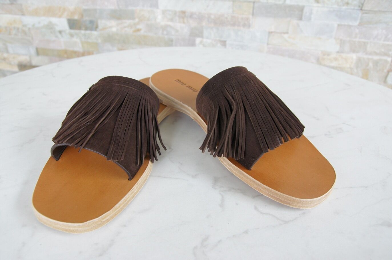 Miu Miu Miu Miu Size 38 Backless Sandals Sandals Slippers shoes Teak New Previously ace6e1
