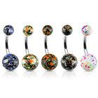 5pcs Splatter Ball Belly Rings 14g Navel naval Wholesale Body Jewelry