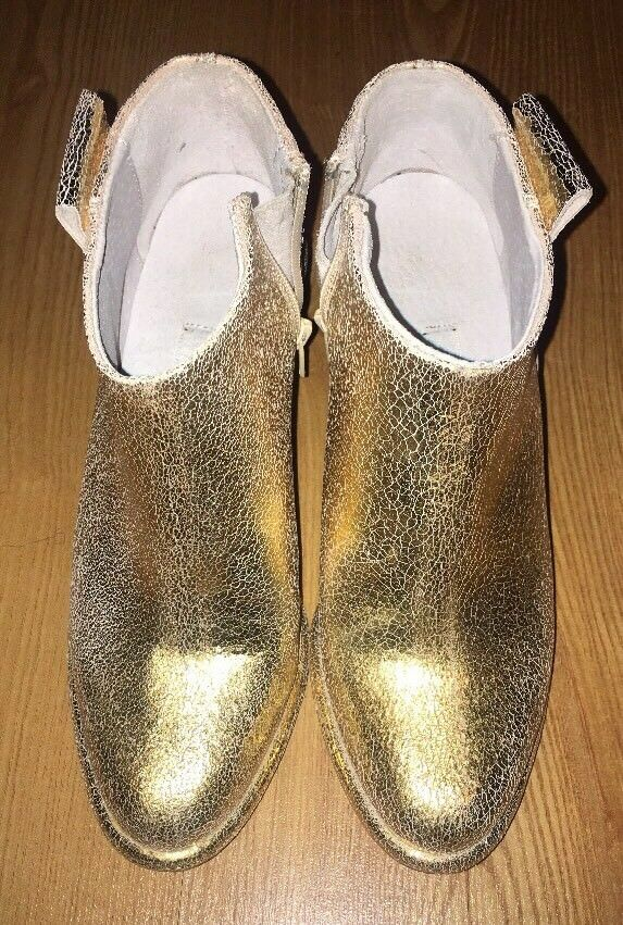 """Miista """"Anais"""" gold Crackle Leather Ankle Bootie 36"""