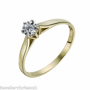 14Carat-Yellow-Gold-Diamond-Illusion-Solitaire-Ring-0-10cts-GSI1-Hallmarked