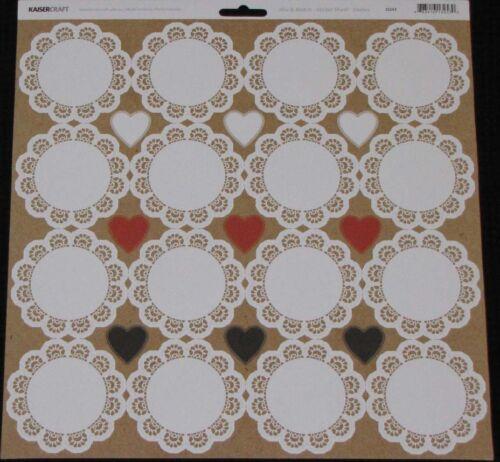 """KAISER Kaisercraft /'MIX /& MATCH/' 12x12/"""" Sticker Sheet Doily//Hearts You choose"""