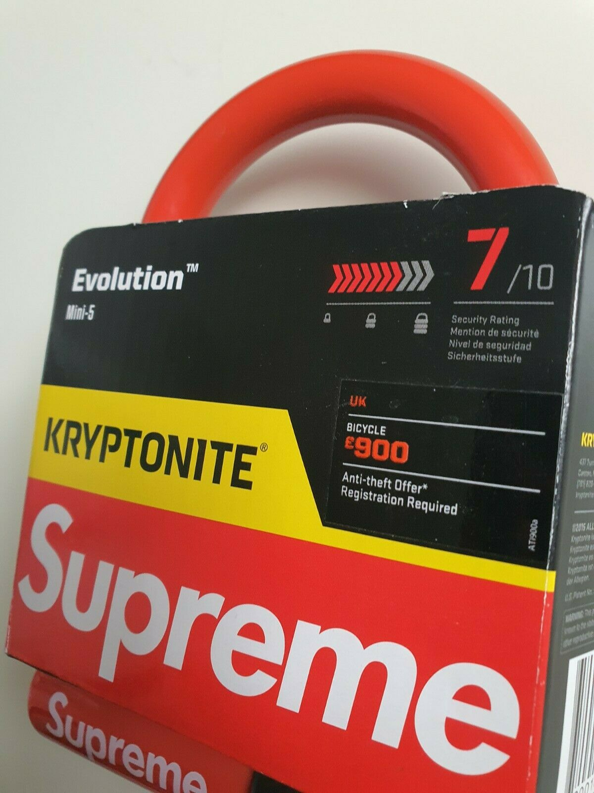 New Unopened Rare FW15 Supreme Kryptonite evolution mini 5 bicycle lock Red