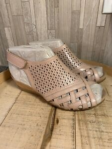 EARTH-Pisa-Galli-7-5W-Leather-Perforated-Wedge-Sandals-Dusty-Pink-NEW