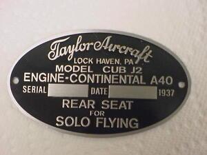 Taylorcraft Flugzeug Daten Platte 1930's & 1940s Säure Geätzte IN Alu