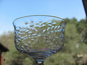 Kosta-Boda-Crystal-Wine-Glasses-Approx-4-oz-Cut-Floral-Set-of-8-Signed