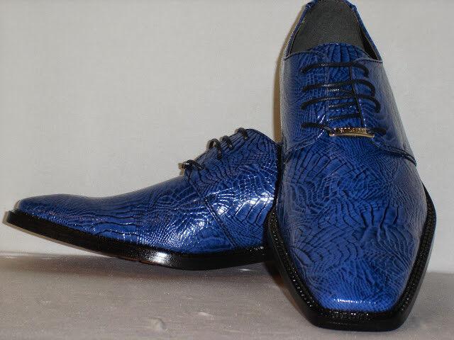 Bolano CALAN-002 Uomo Awesome Bright Blue Navy Croco Look Square Toe Dress Scarpe