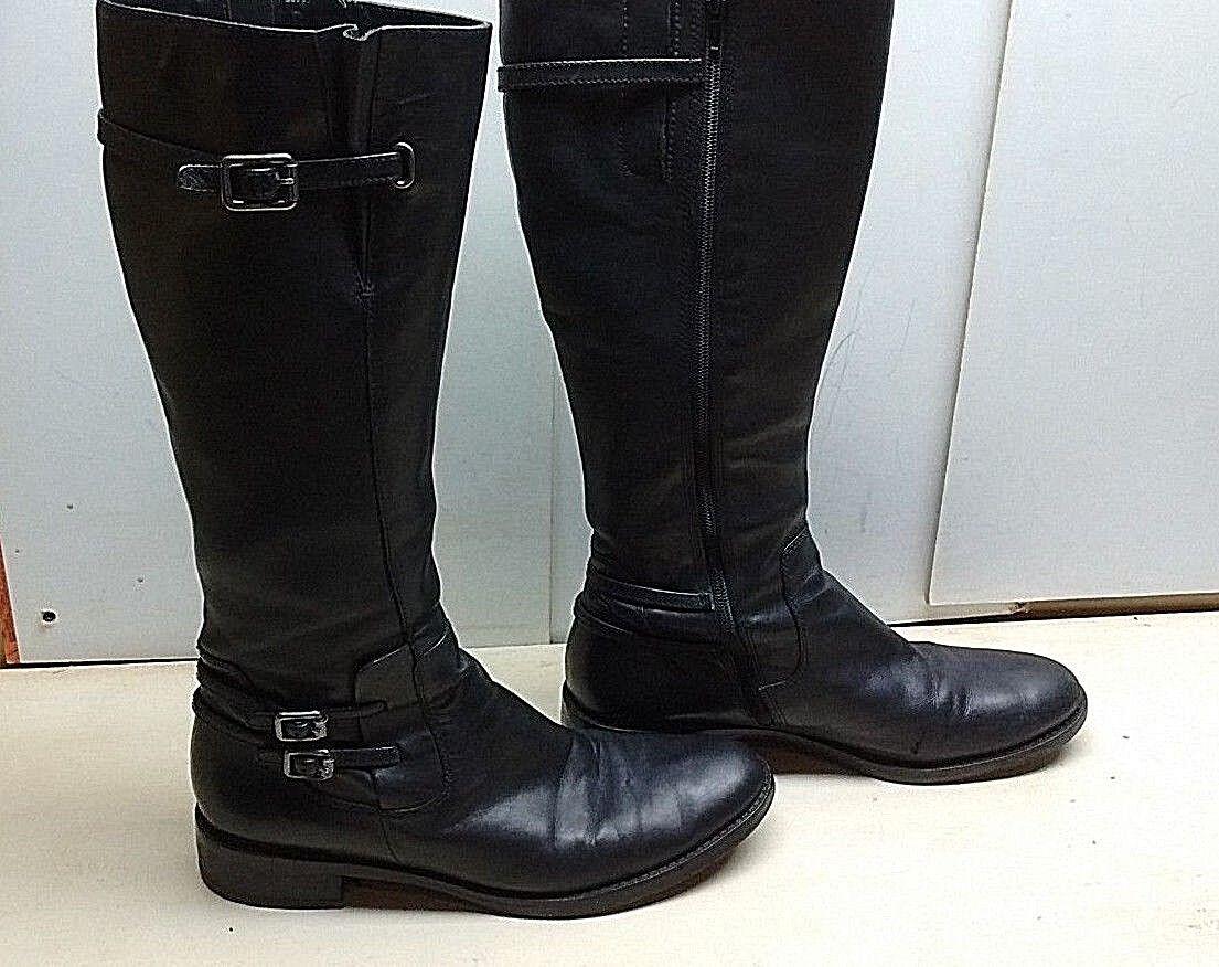 Ecco Mujeres Correas De Cuero Negro Cremallera Hebillas arrodillarse Alta Bota librar Zapato 11M 42