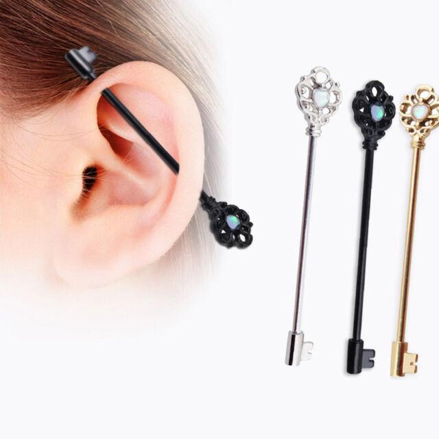 1xStainless Steel Arrow Industrial Bar Ring Ear Stud Body Piercing Jewelry