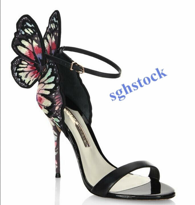 Multicolor Shiny Leather High Heel Women's Sandal Pumps Butterfly Party shoes