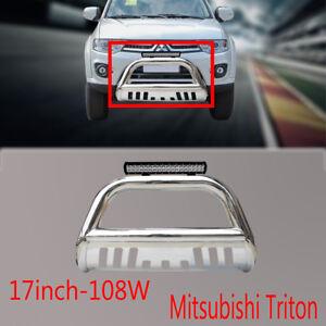 Mitsubishi-Triton-Nudge-Bar-Stainless-Steel-Grille-Guard-09-15-108w-Led-Light