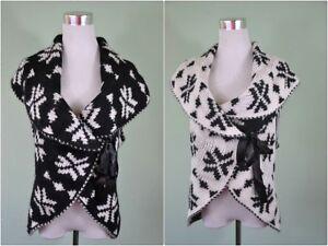 NEW Vtg Italian Design Womens Chunk Nordic Wool Knit Waistcoat Cape Cardigan F68
