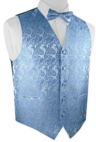 WEDDING PROM MEN/'S CORNFLOWER PAISLEY FORMAL DRESS TUXEDO VEST /& BOW-TIE SET