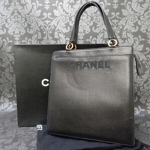 9e8558fd4799 Rise-on Vintage CHANEL LAMB SKIN BLACK Chain Shoulder bag Tote Bag ...